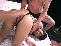 Three insatiable dudes give bad times to sextractive Japanese hoe. They drill her gaped asshole with fingers before they force her to oral fuck their three stiff penises simultaneously in peppering gangbang sex video by Jav HD.