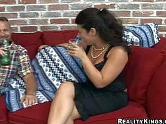 Amateur sexy milf with natural boobs and shaved tight minge in black dress and undies gets seduced by experienced fucker and takes on his long stiff pecker in living room