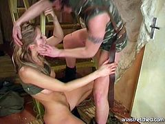 Divine blond chic in military uniform rides sturdy cock in reverse cowgirl style before she kneels down to oral fuck it rapaciously. Later she bends over railing to continue fucking from behind.