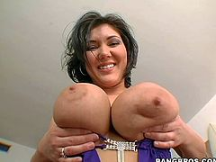 Claire Dames is a dangerously sexy brunette with killer body. She shows off her massive jugs before she bares her huge well shaped ass. Busty hot ass brunette with charming smile takes off her thong with no shame.