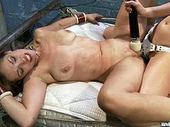 Gorgeous cutie Audrey Rose is playing dirty games with hot slut Maitresse Madeline. Audrey tortures Maitresse and then rips her delicious pussy apart with a toy.