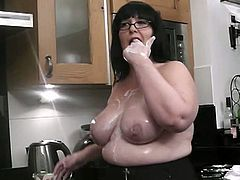 He wanted to bang his wife's mom for a long time and now they are home alone and she spreads legs to take his big stiff meat!