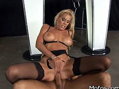 Blonde beauty in sexy lingerie likes undulating and having huge cock banging her cunt