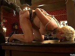 These girls get tied up and spanked. Then guy fix lots of clothespins to their bodies and faces. Then they get toyed and fingered.