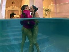 Sexy dykes get in the pool bathing together. They caress one another moaning seductively. These hot and wet babes totally blow my mind.