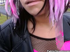 Naughty emo slut without skirt but in sexy pink fishnet pantyhose gives strange guy deepthroat blowjob right in the car. After he pokes her snatch hard in missionary style.