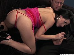 Sextractive brunette hussy in flirty pinkish lingerie gives a head to horny daddy before she gets on it for a ride in reverse cowgirl style with her asshole and later anal fuck in sideways pose until he jizzes on her cute face.