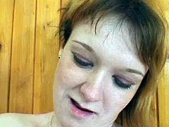 Sex hungry overaged coach hooks up with a curvy red-haired milf during training. She sits with legs spread aside totally naked while he eats her pinkish wet pussy in close up sex video by Pack of Porn.