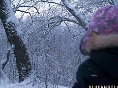 Cute babe Blue Angel enjoys in being in front of the camera and going wild even when shes outside in the snow and enjoying in all the attention she gets