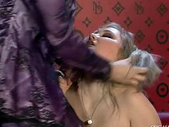 Two steamy blondies in lacy pantyhose and satin robes finger fuck each other's tasty vaginas before they use vibrators to continue pleasing themselves.