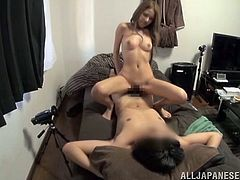 Slim Japanese girl undresses and gives a blowjob expertly. After that she spreads her legs and gets her vagina fucked hard.
