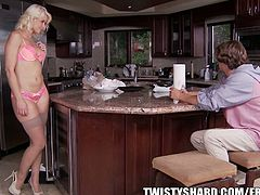 Anikka Aalbrite agrees to ride cock in the kitchen. She faces him at first, but then she goes reverse.