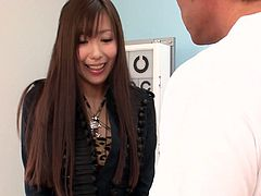 Regular gyno checkup turned into kinky Japanese style threesome. Natsuki gets her black pantyhose ripped up and her hairy cunt fucked with huge vibrator.