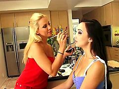 Blonde Sandy and Katsuni and enjoy lesbian sex too much to stop