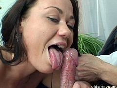 Ruined brunette milf gives a face sitting to a pony looking daddy before she inclines to his long hard cock for a blowjob in perverse sex video by Pack of Porn.