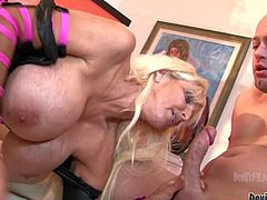Mature long haired blonde milf with gigantic firm melons and great hunger for cock in arousing lingerie teases young fucker and gives him mind blowing titjob in point of view