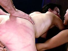 Hot brunette chicks Iona Grace and Elise Graves are having wild anal with James Deen one girl tied up other and rudely spanked her before the guy fucked her asshole.