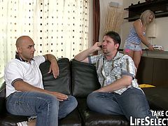 Rapacious bald daddy gets oral fucked by friends' wives