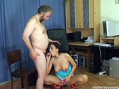 Horny grey-haired daddy enjoys eating a soaking shaved cunt of steamy brunette slut before she kneels down to oral fuck his dick and later ride him in cowgirl style.
