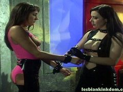 Busty seductress Anastasia Pierce in latex BDSM outfit puts her skills to the test giving every kind of punishment to this sex freak who loves every second of it.