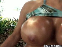 She looks extremely hot and he desires to eat her pussy and digust her lady juice. After she slurps his dick and gets her gorgeous oiled ass fucked hard outdoors.