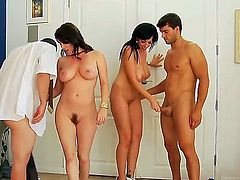 Two brunette girlfriends Alia Janine and RayVeness are having hot foursome fuck with Ralph Long and