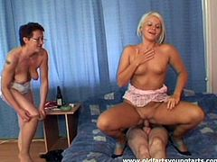 Disgusting but horny bitch Michaela N has threesome for a chance to ride a dick