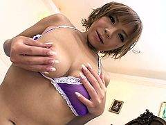 Impressively hot and sexy Japanese redhead gets rid of her bra and plays with awesome big boobs. Passionate chick desires to gain some delight tonight. So wondrous nympho with smooth ass takes off panties, stretches legs wide and desires to polish her wet pussy with a dildo.