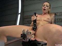 The blonde Bailey Blue is going to get her pussy and ass fucked by differnet sex toys, even at the same time, before trying as sybian.
