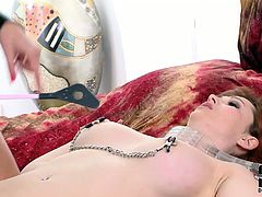 Torn slut with big succous boobs is tough on her sub. She spanks skinny white ass leaving red traces. Then she sits on girl's face making her eat ass.