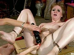 Alani Pi and Lorelei Lee are playing lesbian games indoors. Lorelei fondles Alani and then smashes her holes with a dildo.