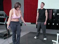 Eva is working out and her gym trainer is making some naughty tricks, to see this bitch's boobs bouncing. She noticed that and offers him her huge boobs. He sucks them diligently, while his dick became hard as a rock. Then he licks her pussy and makes it ready for a great pounding.