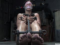 This chick gets turned on by abuse, yes, she likes to be abused by a dominant counterpart that restraints and toys with her.