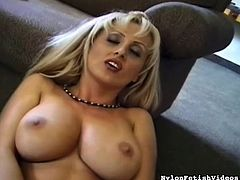 Stunning blonde babe with superb tits likes masturbating and stroking her pink pussy