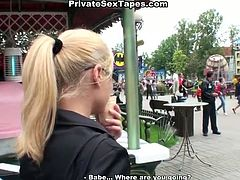 The best dessert for this slim booty blondie is tasty gooey cum. Kinky blowlerina in glasses stretches legs wide right in the cafe and gets absorbed with giving a solid blowjob to the lucky dude while waiting for a waiter.