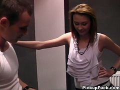 Sex-starved business woman with nice round boobs shows some serious cock sucking skills right in the public restroom. Dude, that babe is unstoppable! Grab your throbbing cock and enjoy the action!