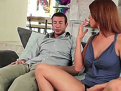 Kristine Crystalis sucks like a first rate whore in steamy oral action with horny guy