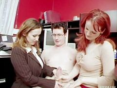Catherine and Caroline and Todd's employees. They feel they are not being paid enough and make him strip naked for them or they'll quit. They jerk him off and humiliate him while they stay completely clothed.