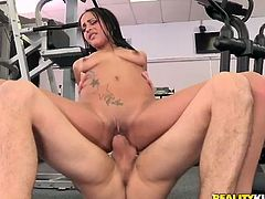 Zealous slim brunette with nice boobs and smooth rounded ass has a strong desire to fill her mouth full with sperm. Dirty-minded chick sucks the cock of her coach right in the gym. After getting her wet juicy pussy eaten tenderly wondrous bitch starts riding his cock passionately for multiple orgasm.