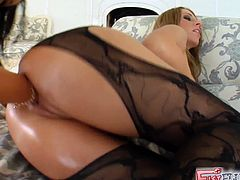 Sexy and curvaceous babes Angelica and Debbie will not disappoint you. Sexy girls in black lingerie have great asses and elastic pussies and they are gonna fist each other till they cum.