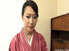 Skinny Japanese chic Yayoi Yanigada gets fucked in doggy style while giving blowjob