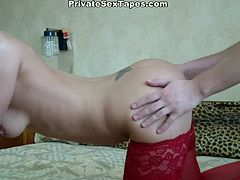 Tonight this sexy blondie in red stockings wanna be pounded hard. Doggy fuck will suit perfectly. Pale chick with sweet tits warms up with a sex toy, then throws it away and switches to riding her boyfriend's stiff dick for orgasm.