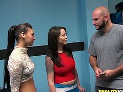 Two mesmerizing brunettes are in the bike shop. Wondrous curvy gals shows huge boobs and smooth asses to the bald headed seller. These bitches have a strong desire to gain delight by having threesome. Just check out voluptuous horn-mad chicks in Reality Kings sex clip and you'll definitely jizz all over the place.