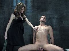 Horny transsexual whips a guy and then he gives a blowjob. After that he lies down on a couch and gets his ass drilled.