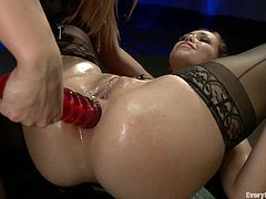Two hot chicks insert hard toys in their assholes until a man joins them and inserts his big rod in those tight buttholes.