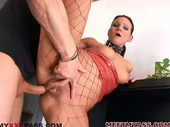 There's a hardcore anal fuck in store for Nella Wan Hells as the girl in corset and fishnet stockings opens her legs for sex.