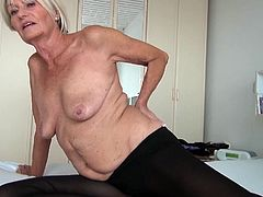 With short hair, fragile body and small tits this mature blonde still keeps some time for masturbation in her routine. She undresses and makes those wrinkled boobs visible. She lying down and starts crushing her boobs and nipples. then she moves her hands slowly toward her pussy. Lets see what happens.