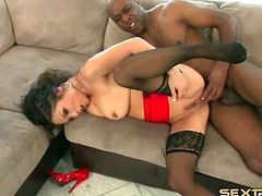 Interracial hardcore sex with Asian in stockings