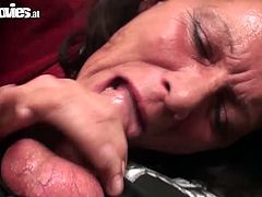 Dirty granny masturbates on a sofa and later shows off her awesome skills in sucking dick