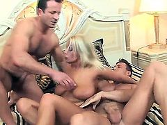 Chick with big boobs and big ass Lucy Love is relaxing with two dudes. Dudes are stuffing magic mouth, sweet clean shaved pussy and tight butthole of the bitch by dongs.